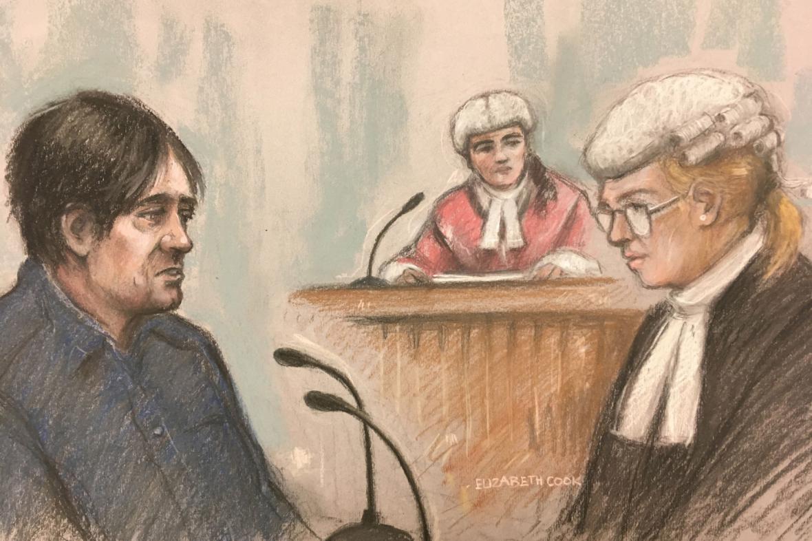 Kresba ze soudního procesu s Darrenem Osbornem