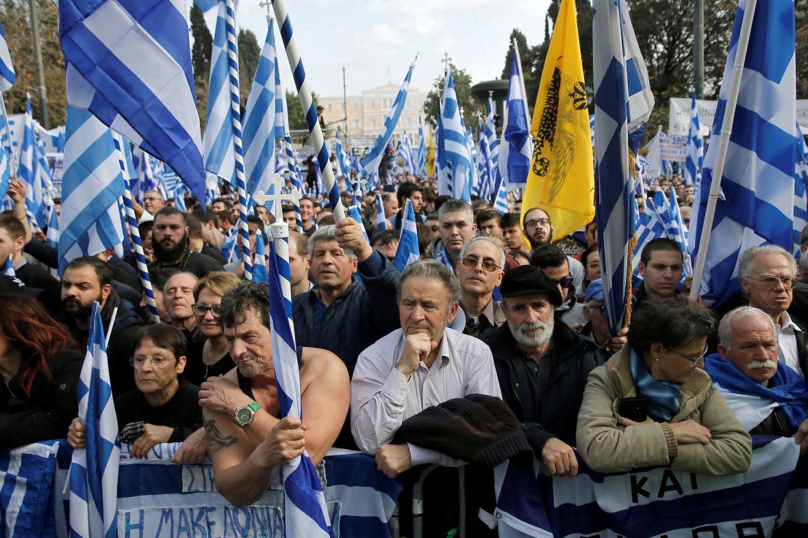 Protest v Athénách proti názvu Makedonie