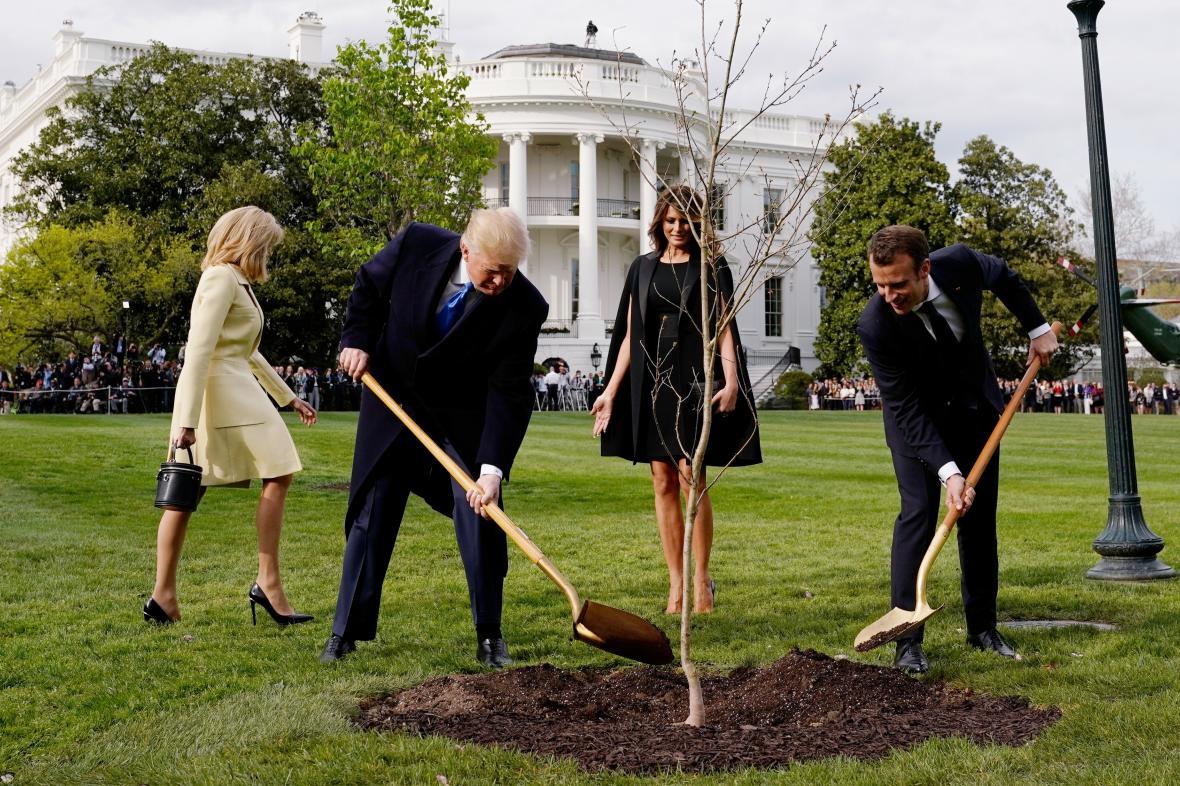 Donald Trump s Emmanuelem Macronem zasazují dub před Bílým domem