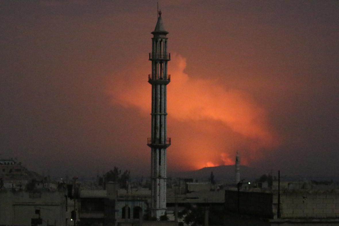 Raketový útok poblíž města Hamá