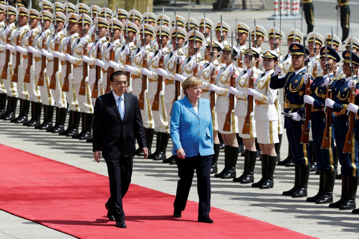 Kancléřka Angela Merkelová s čínským premiérem Li Kche-čchiangem