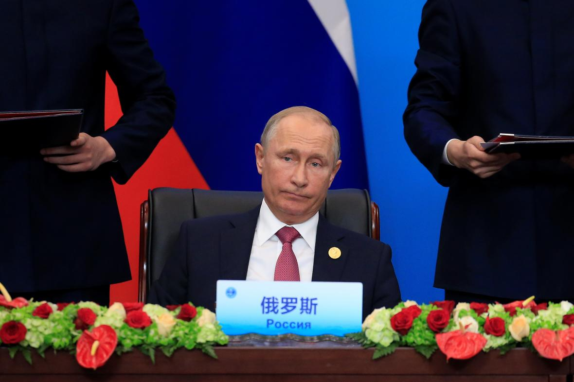 Ruský prezident Vladimir Putin na summitu v Šanghaji