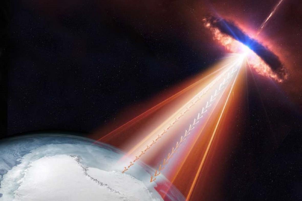 Blastar chrlící neutrina k Zemi