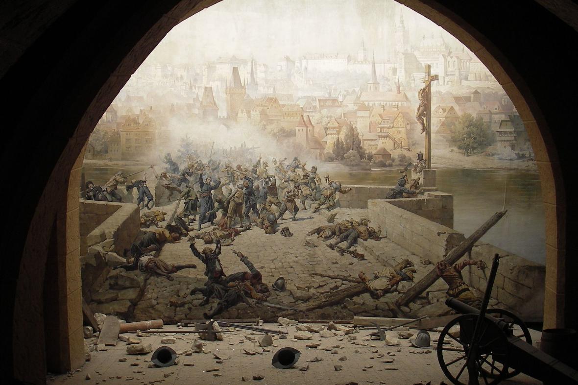 Bitva na Karlově mostě v Zrcadlové kapli na Petříně