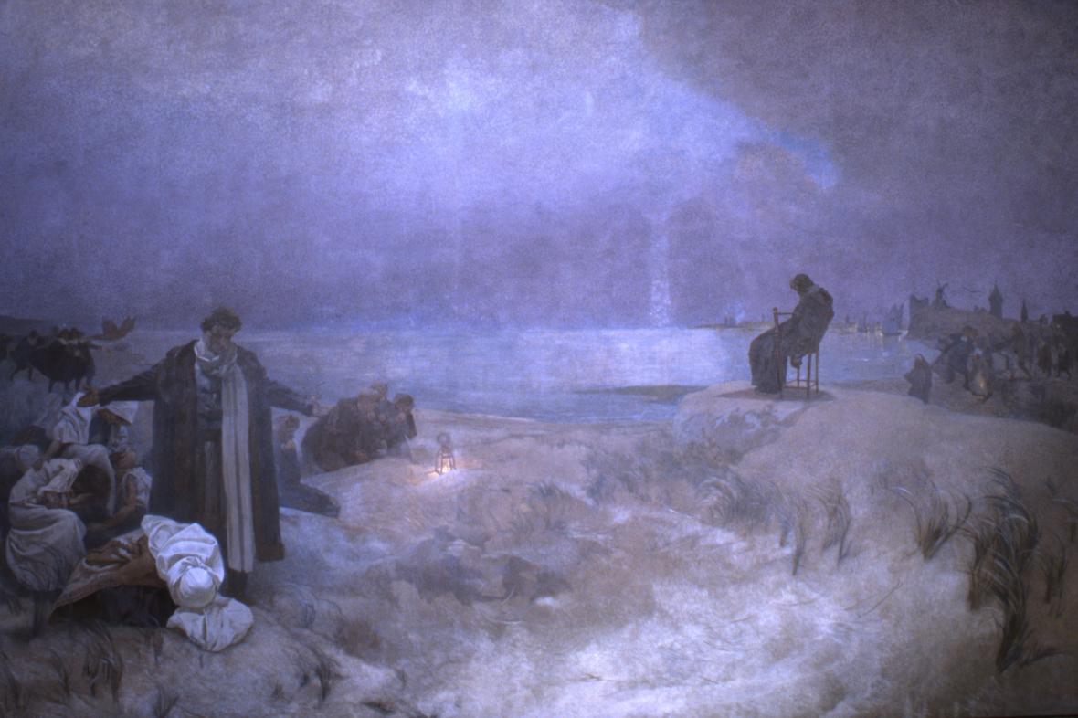 Smrt Komenského v Naardenu (1670), 1918, vaječná tempera, olej, plátno, 405 x 620 cm
