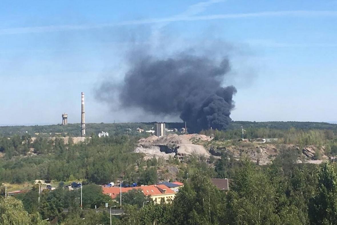 Požár v areálu bývalých hutí Poldi