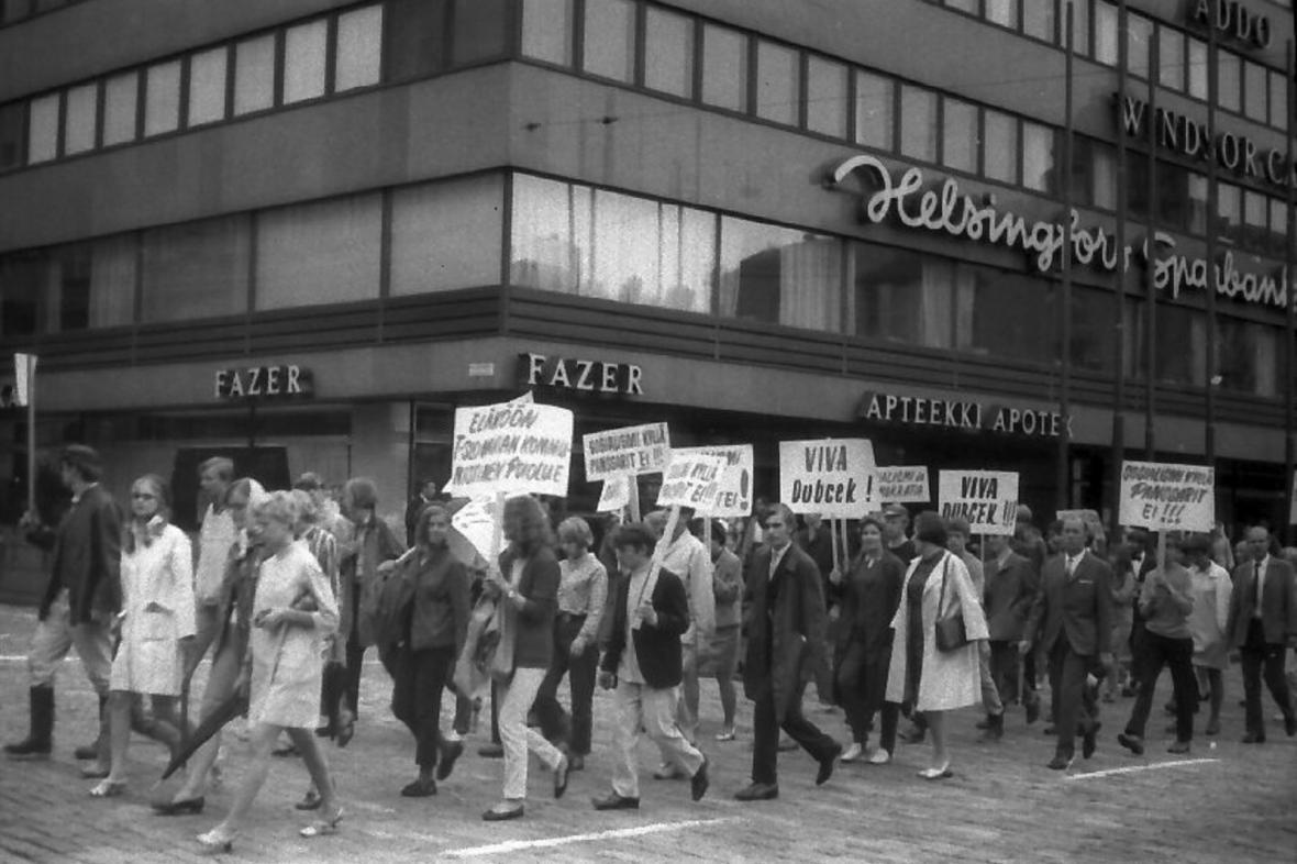 Demonstrace v Helsinkách proti invazi do Československa v srpnu 1968