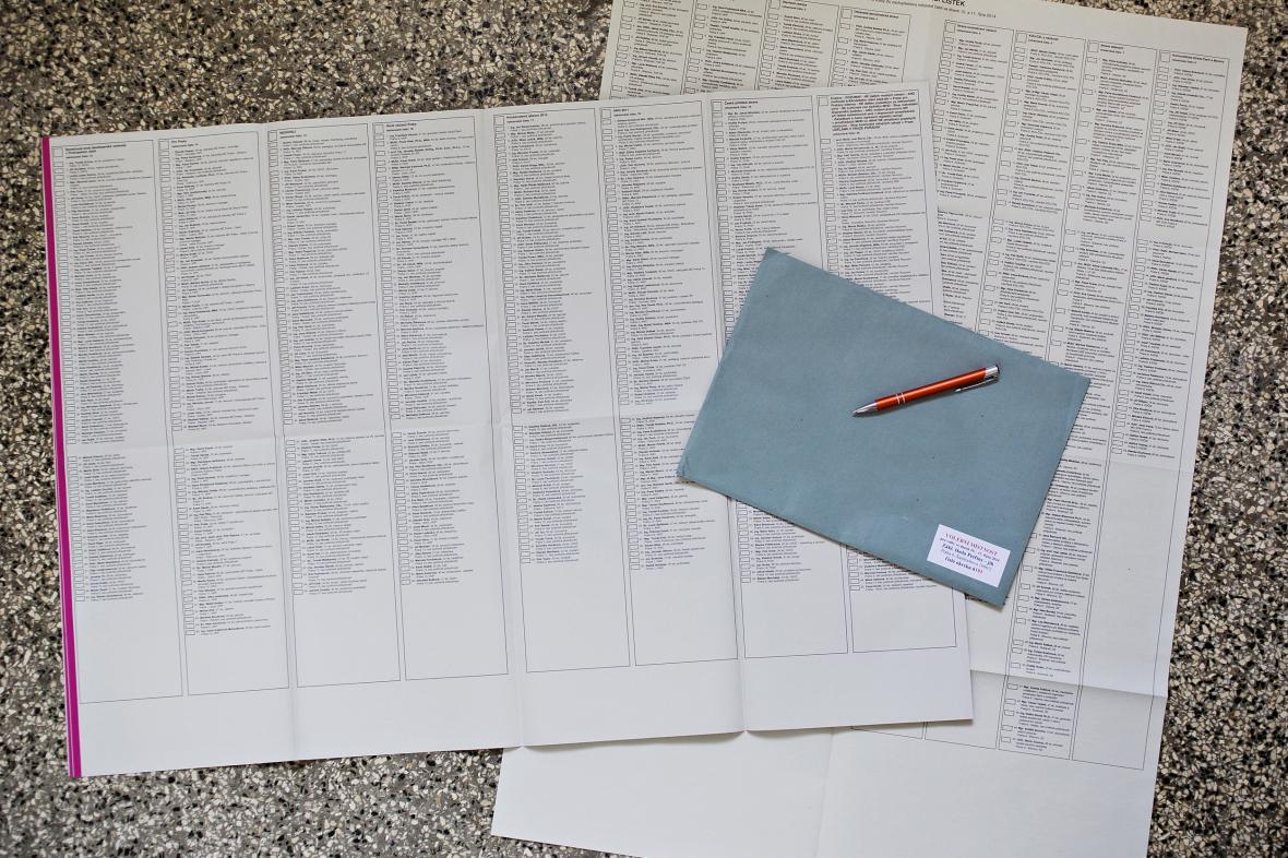 Hlasovací lístky pro obecní volby v Praze z roku 2014