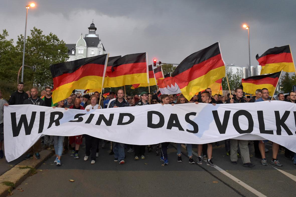 Demonstrace krajně pravicové skupiny Pro Chemnitz