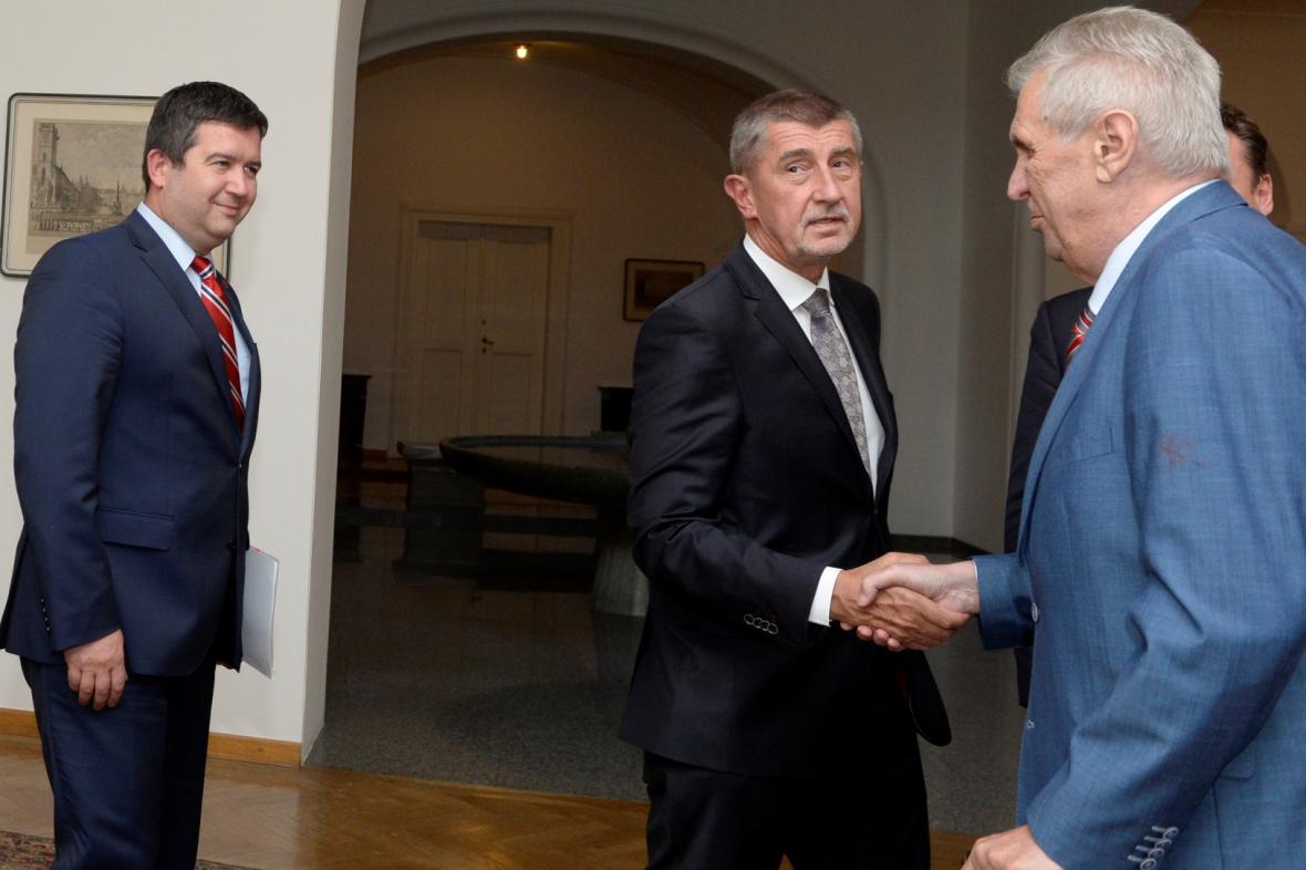 Jan Hamáček, Andrej Babiš a Miloš Zeman