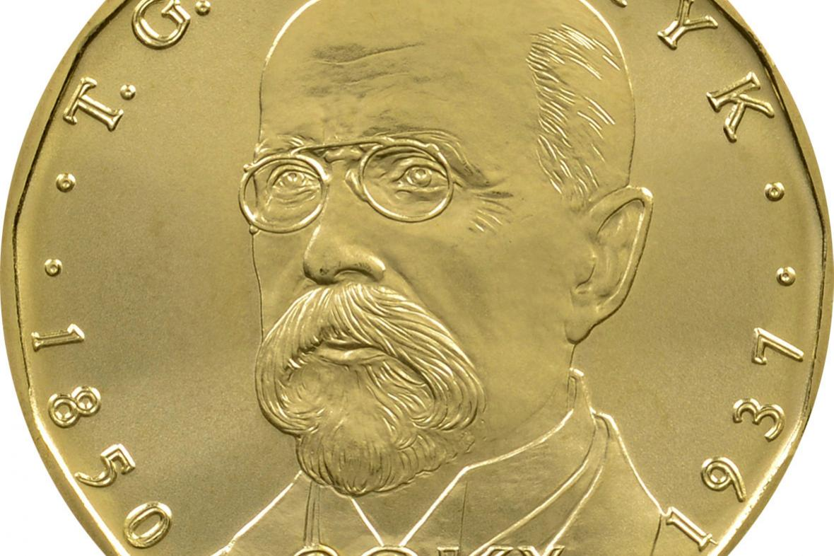 mince s portrétem Tomáše Garrigua Masaryka