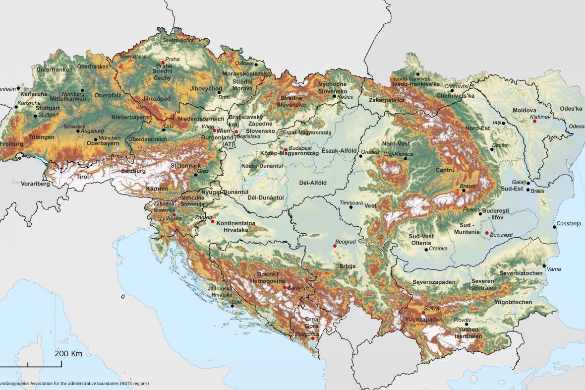 Evropská strategie pro dunajský region –mapa