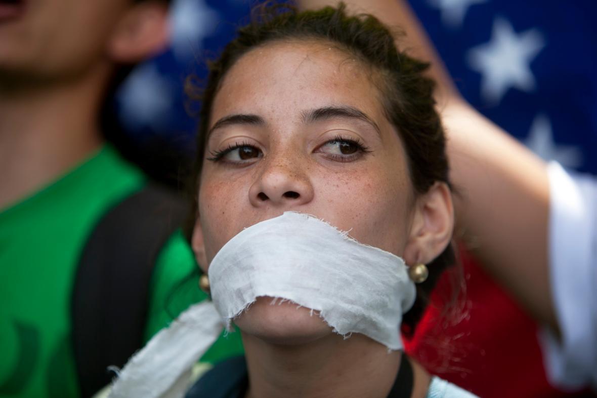Protest proti cenzuře ve Venezuele