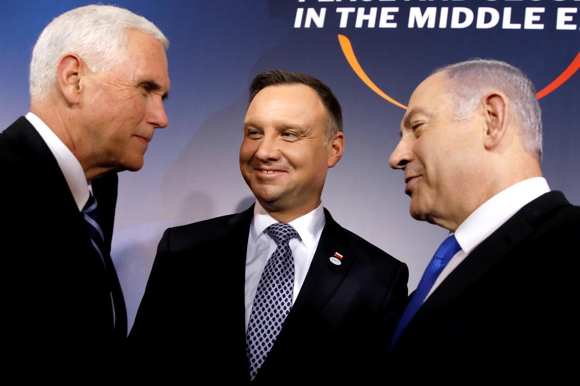 Viceprezident USA Mike Pence, polský prezident Andrzej Duda a izraelský premiér Benjamin Netanjahu