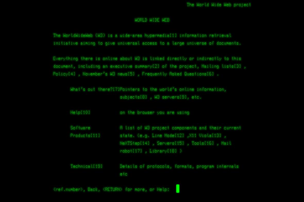 Tahle vypadala první webová stránka