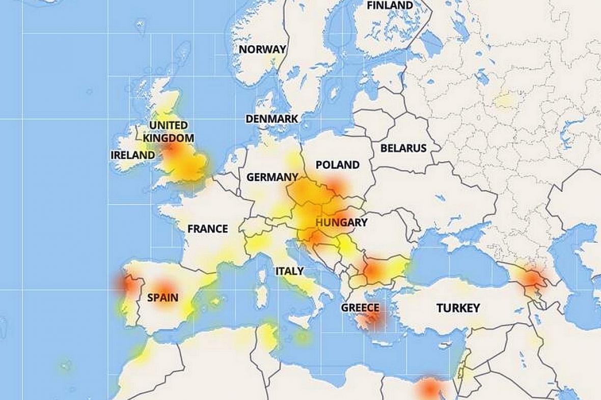 Mapa výpadku Facebooku