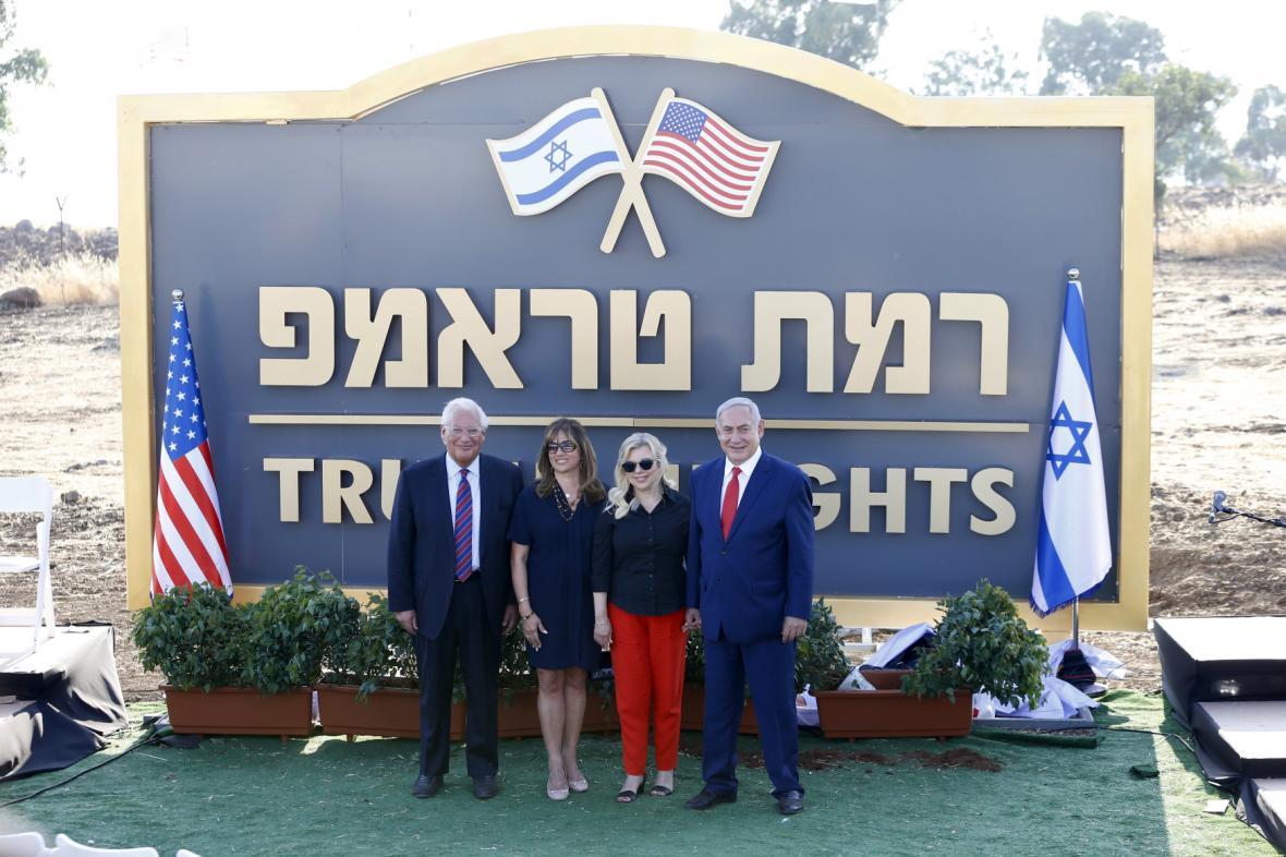 Benjamin Netanjahu pojmenoval židovskou osadu na Golanech Trumpův vrch