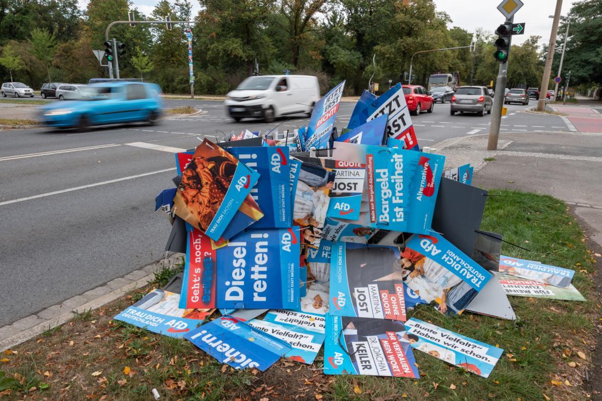 Volební plakáty AfD v Sasku