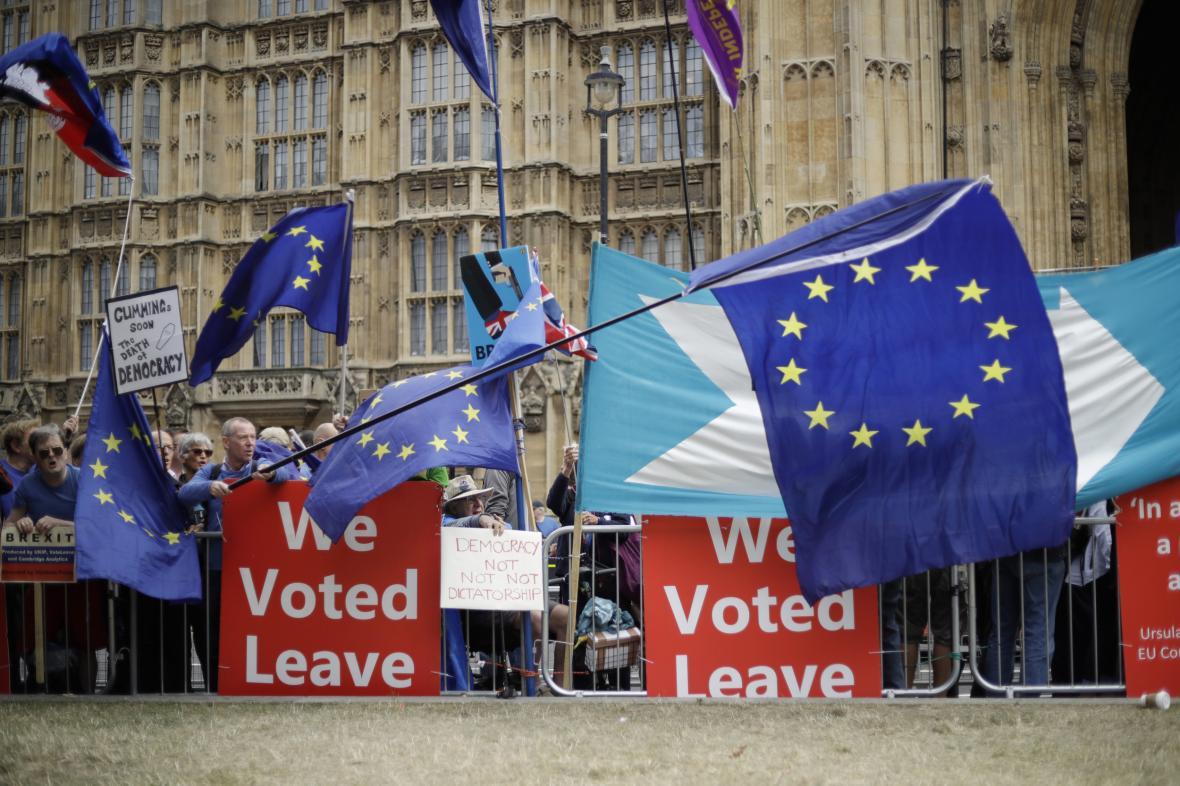 Demonstrace stoupenců brexitu před britským parlamentem