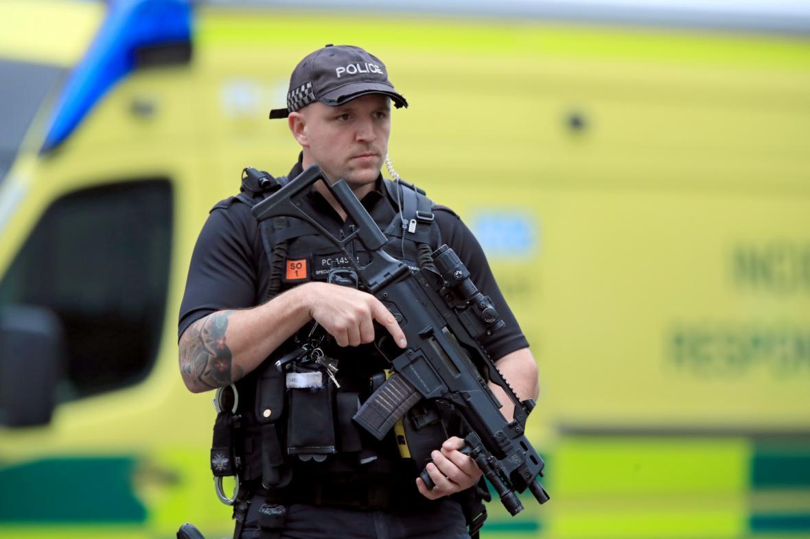Policie na místě útoku v Manchesteru