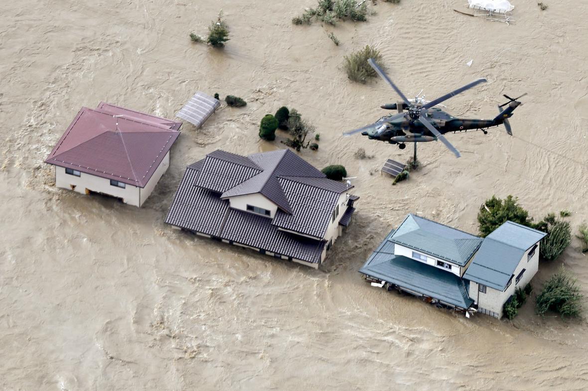 Japonské Nagano po tajfunu Hagibis