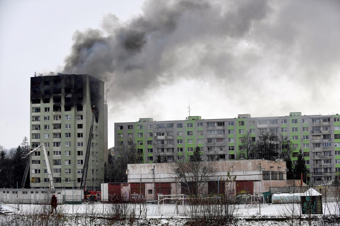 Prešovský panelový dům poničený výbuchem plynu