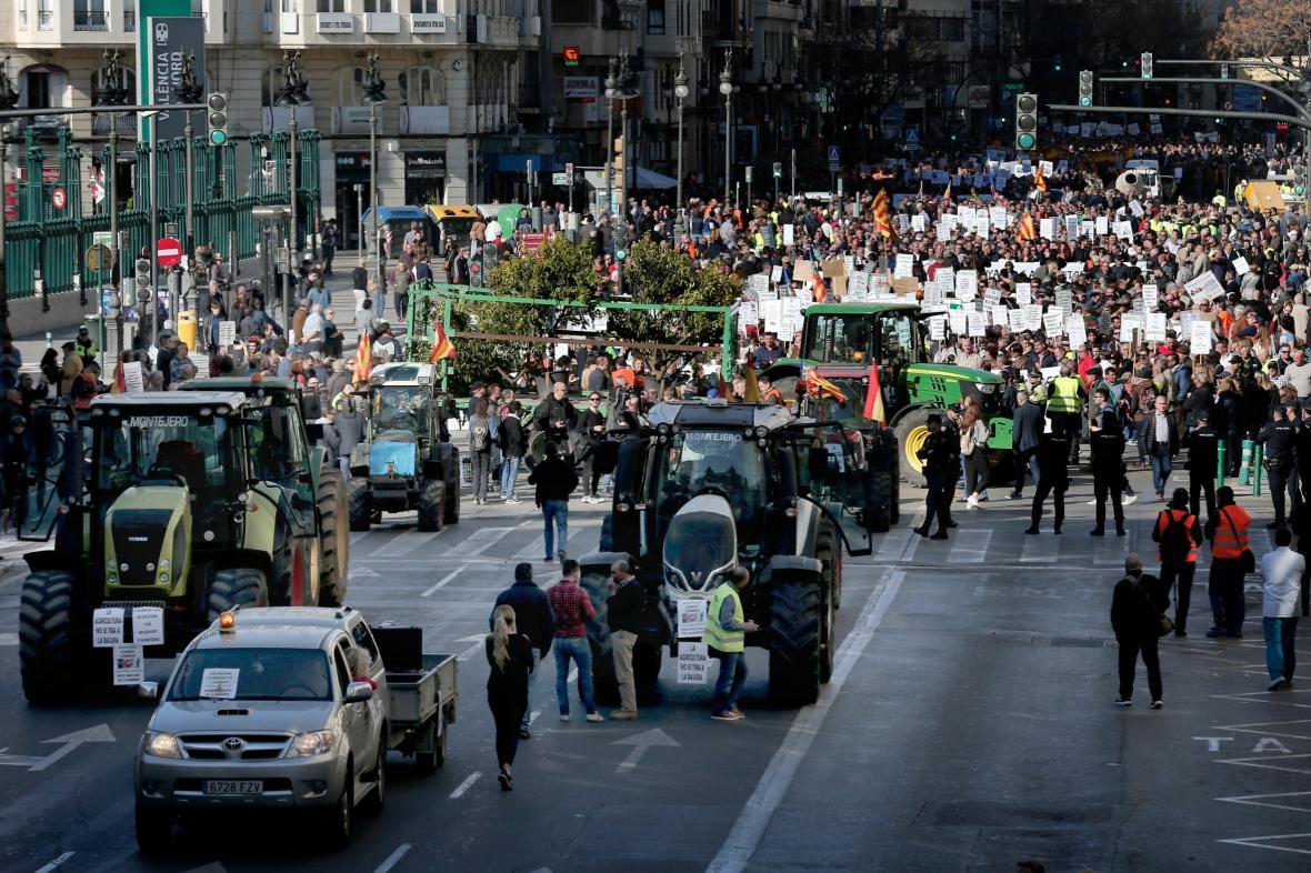 Protest zemědělců ve Valencii