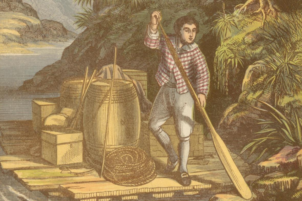 Ilustrace k vydání knihy Robinson Crusoe z roku 1865