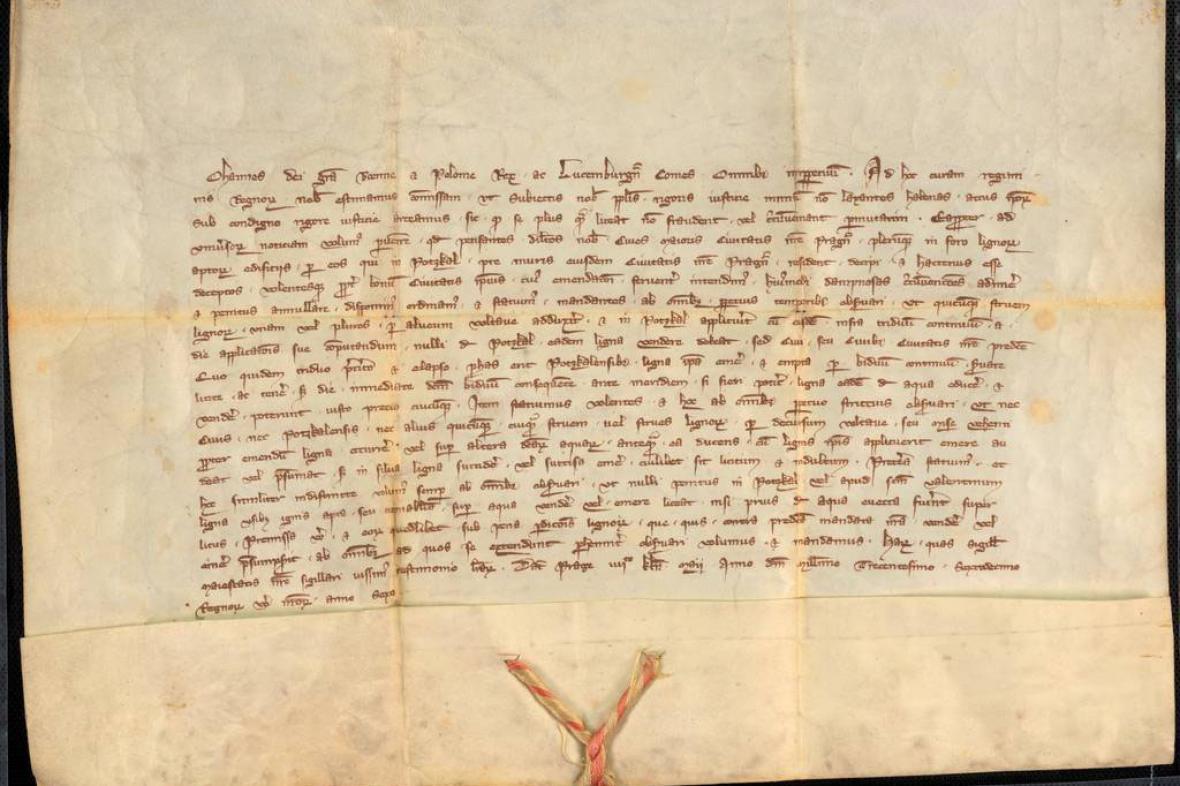 Listina Jana Lucemburského upravujícího obchod s dřívím v Podskalí