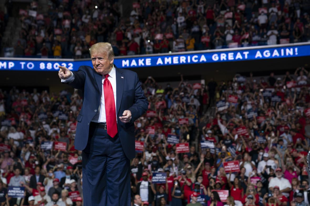 Donald Trump na předvolebním mítinku v Tulse v Oklahomě