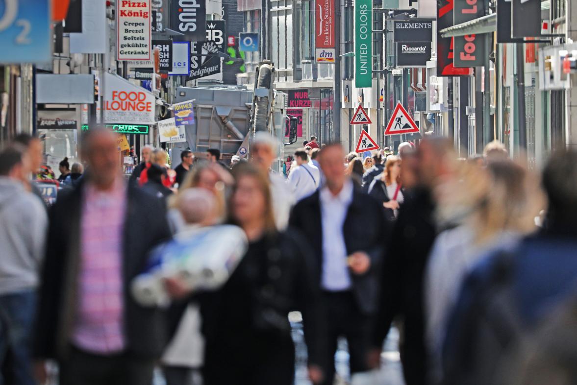Nákupní ulice v Kolíně v Německu