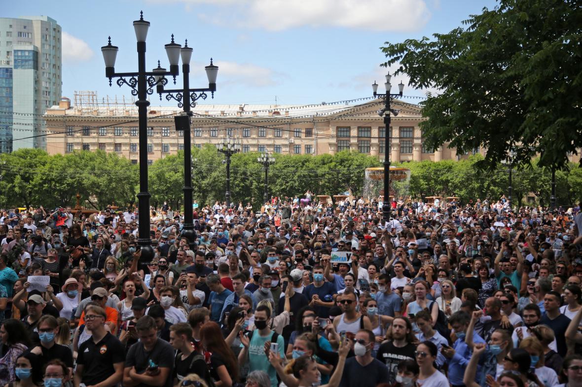 Demonstrace v Chabarovsku na podporu gubernátora Furgala
