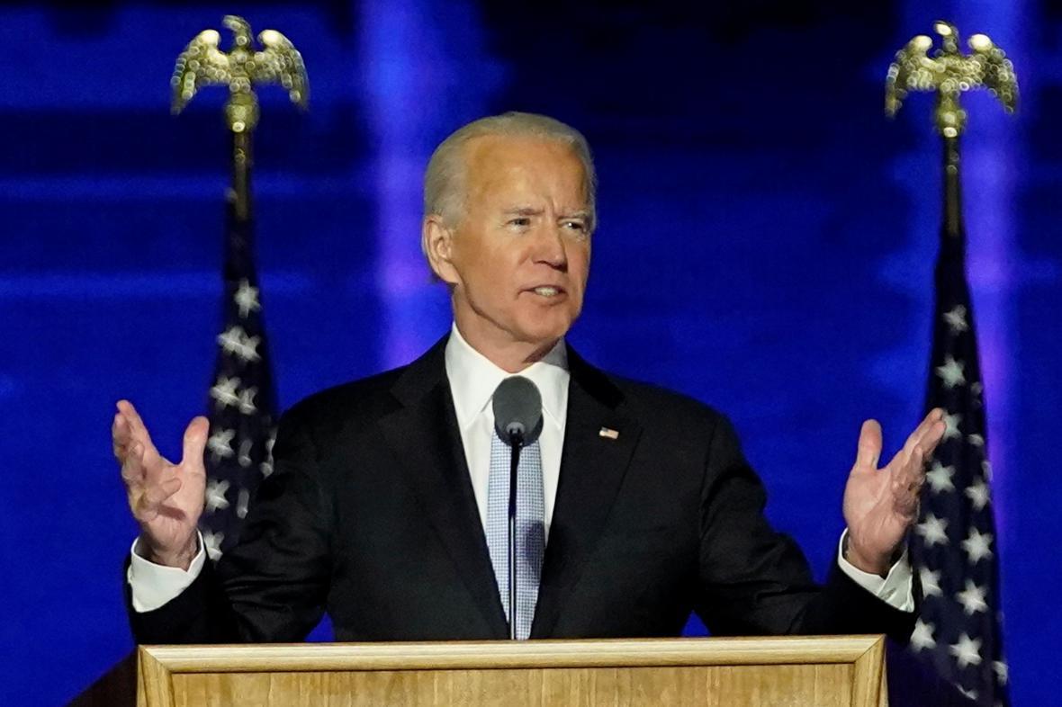 Joe Biden při vítězném projevu