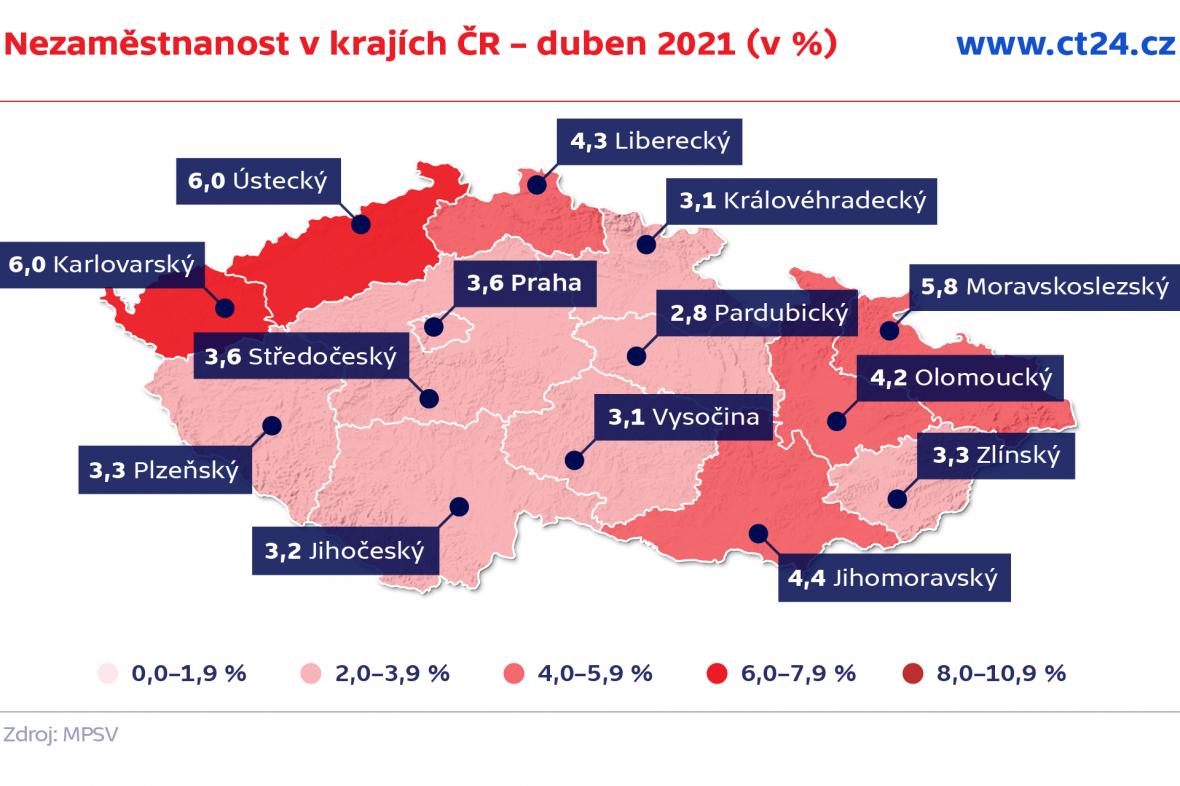 Nezaměstnanost v krajích ČR – duben 2021 (v %)