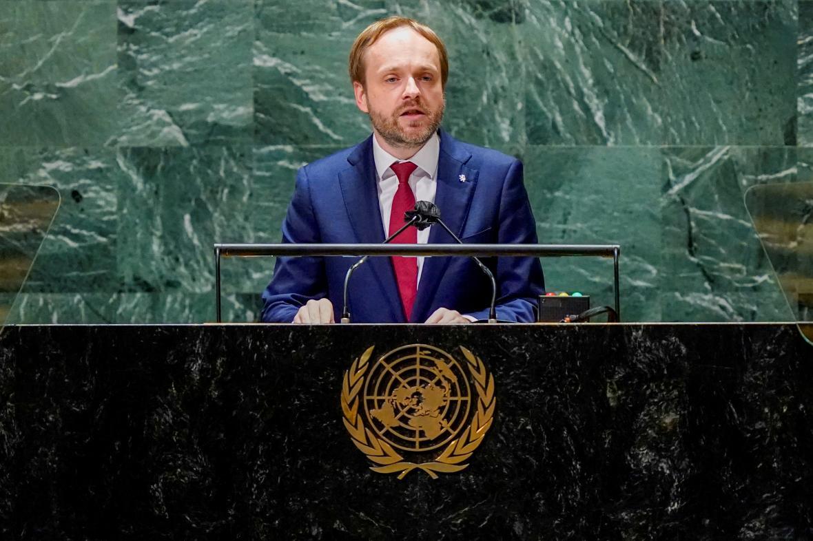Český ministr zahraničí Jakub Kulhánek na zasedání OSN