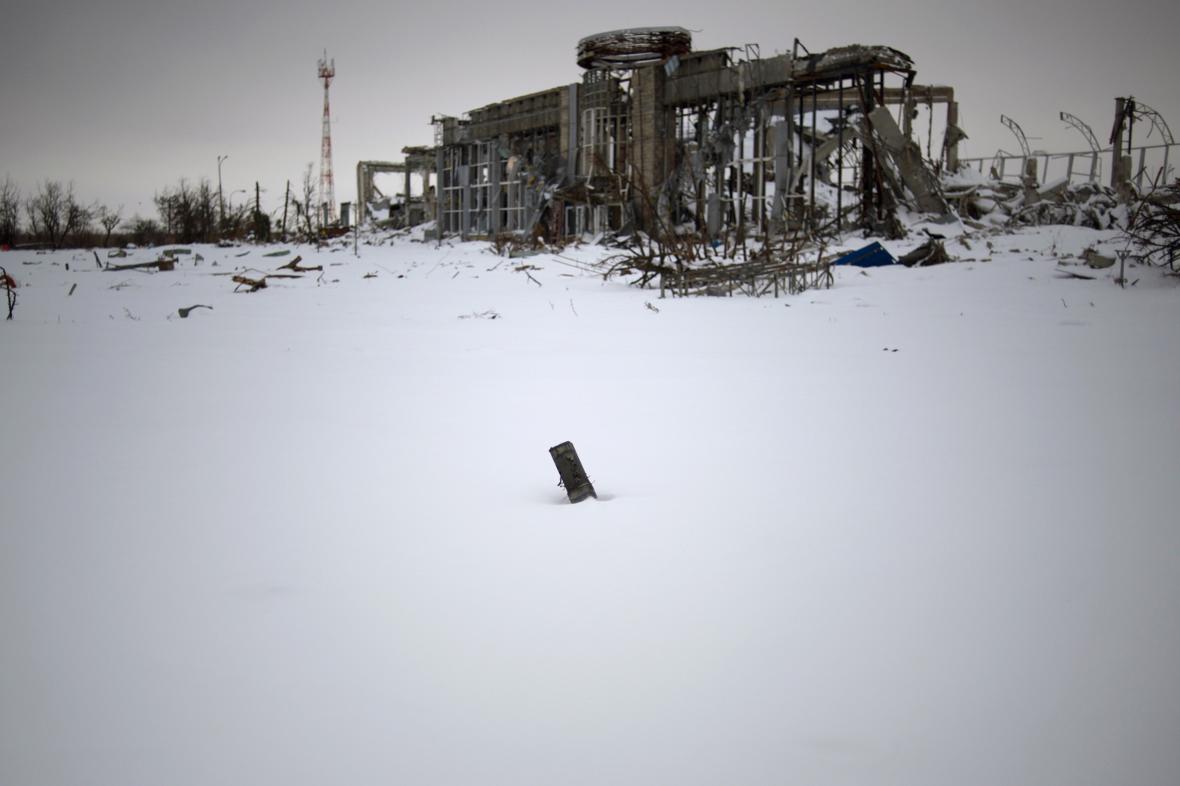 Následky bojů v Doněcku