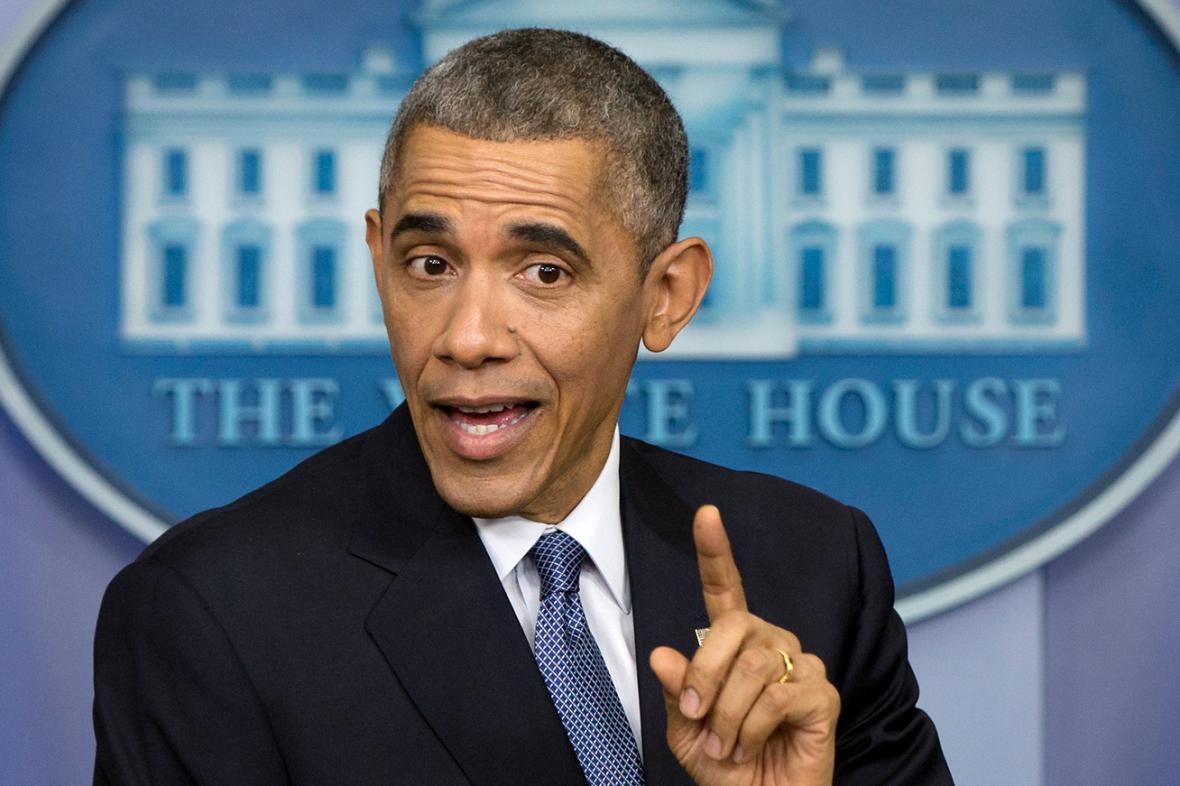 Barack Obama na předvánočním brífinku