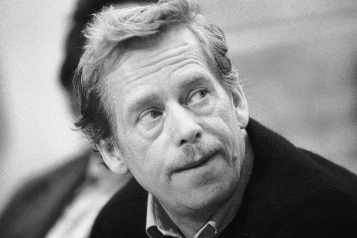 Václav Havel na tiskové konferenci OF, listopad 1989