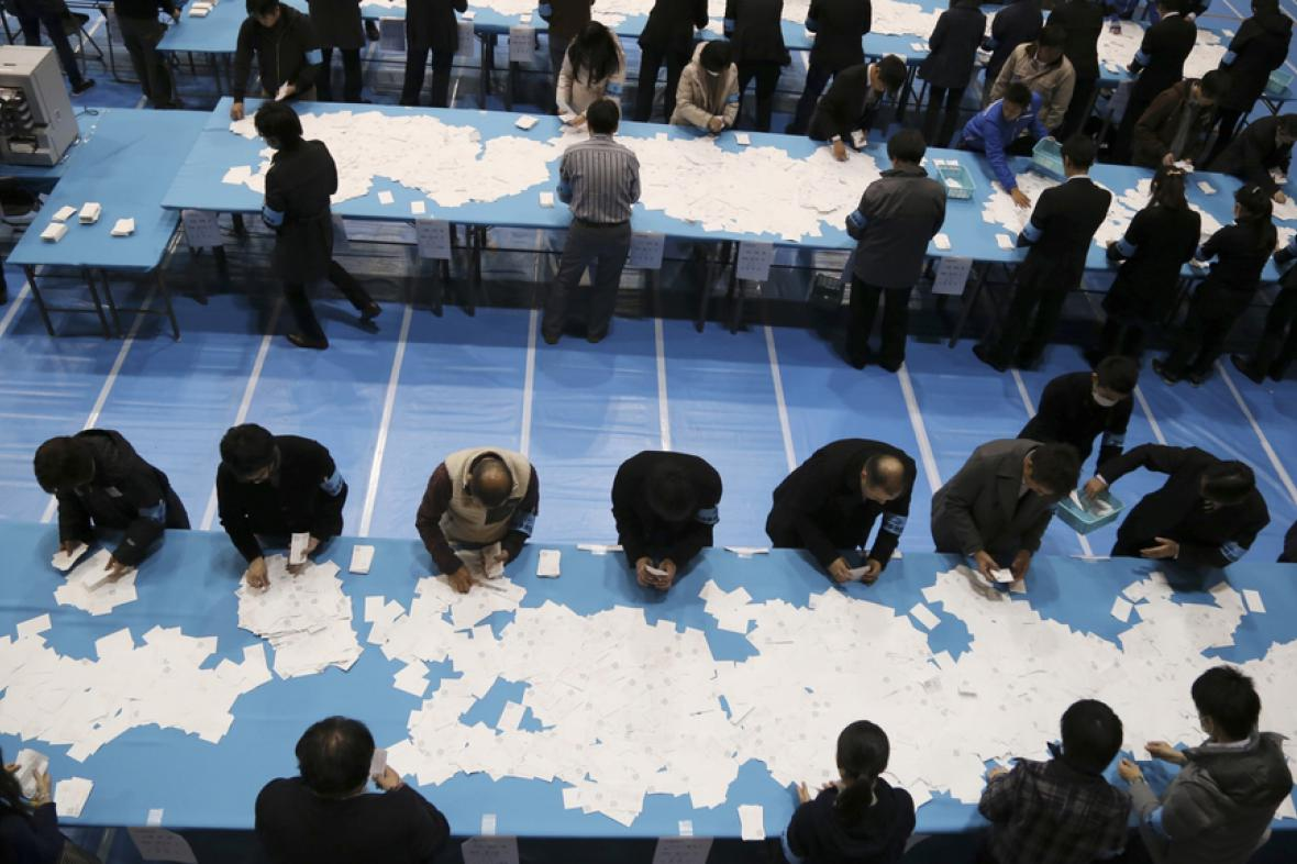 Japonské volby - sčítání výsledků