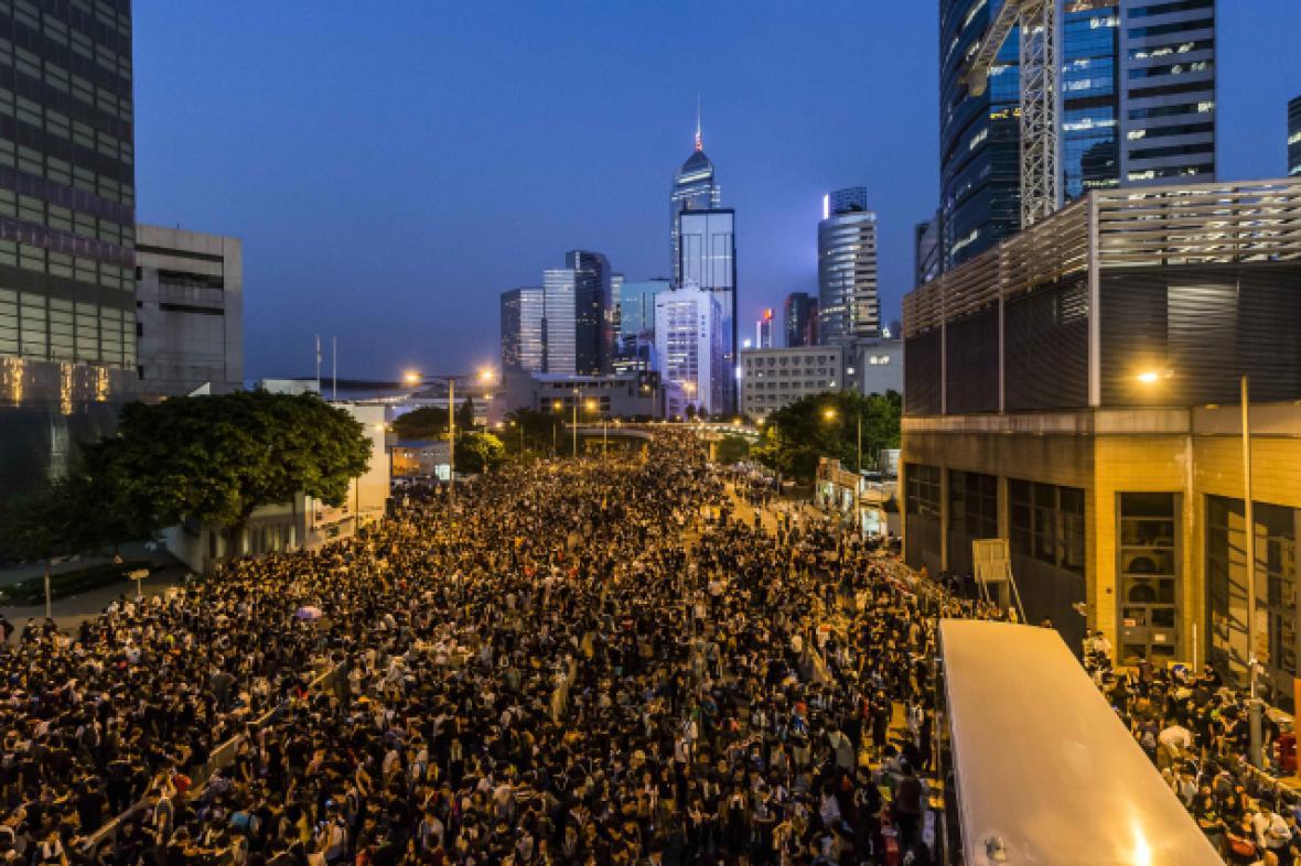 Demonstrace se odehrávají v části města zvané Central