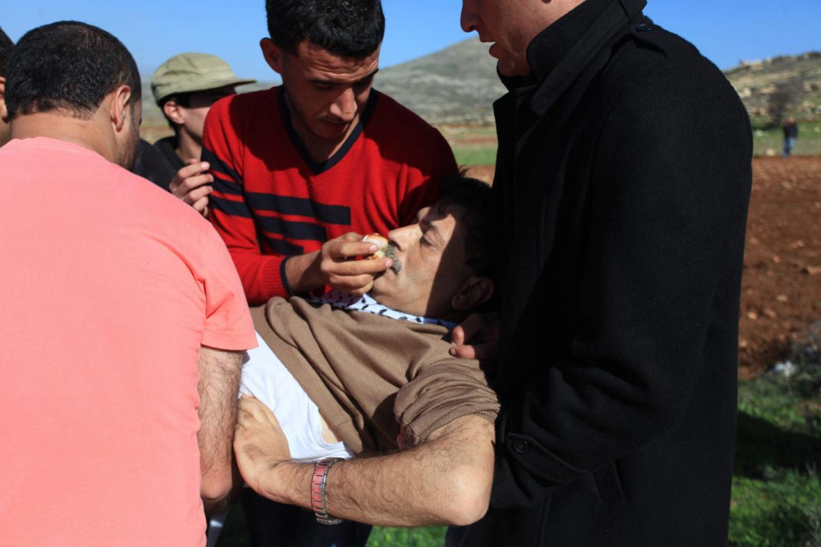 Zijád abú Ajn po střetu s izraelskými vojáky