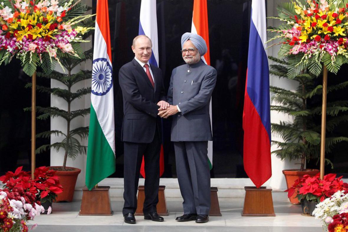 Vladimir Putin a Manmóhan Singh