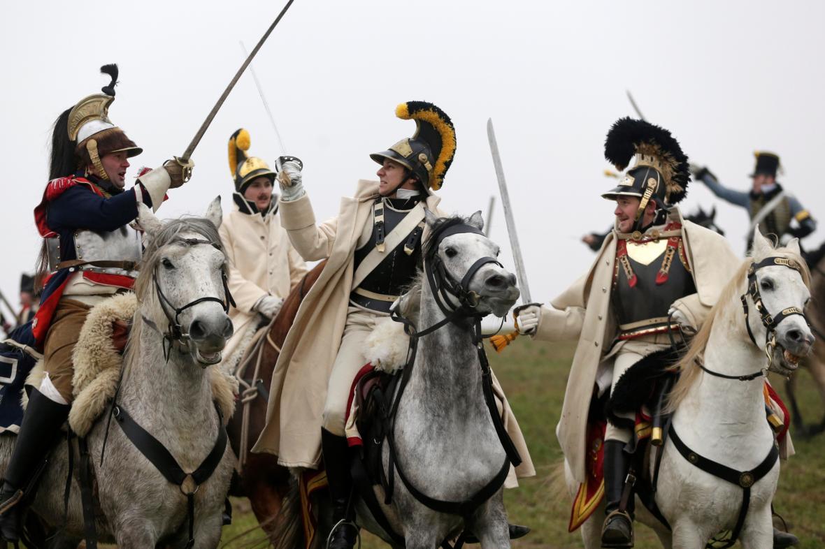 Rekonstrukce bitvy u Slavkova v podání historických nadšenců