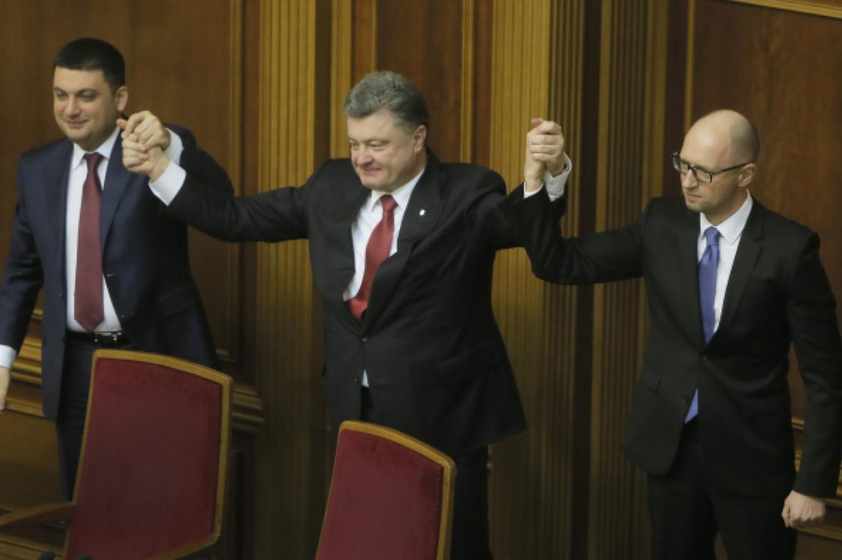 Volodymyr Hrojsman, Petro Porošenko, Arsenij Jaceňuk