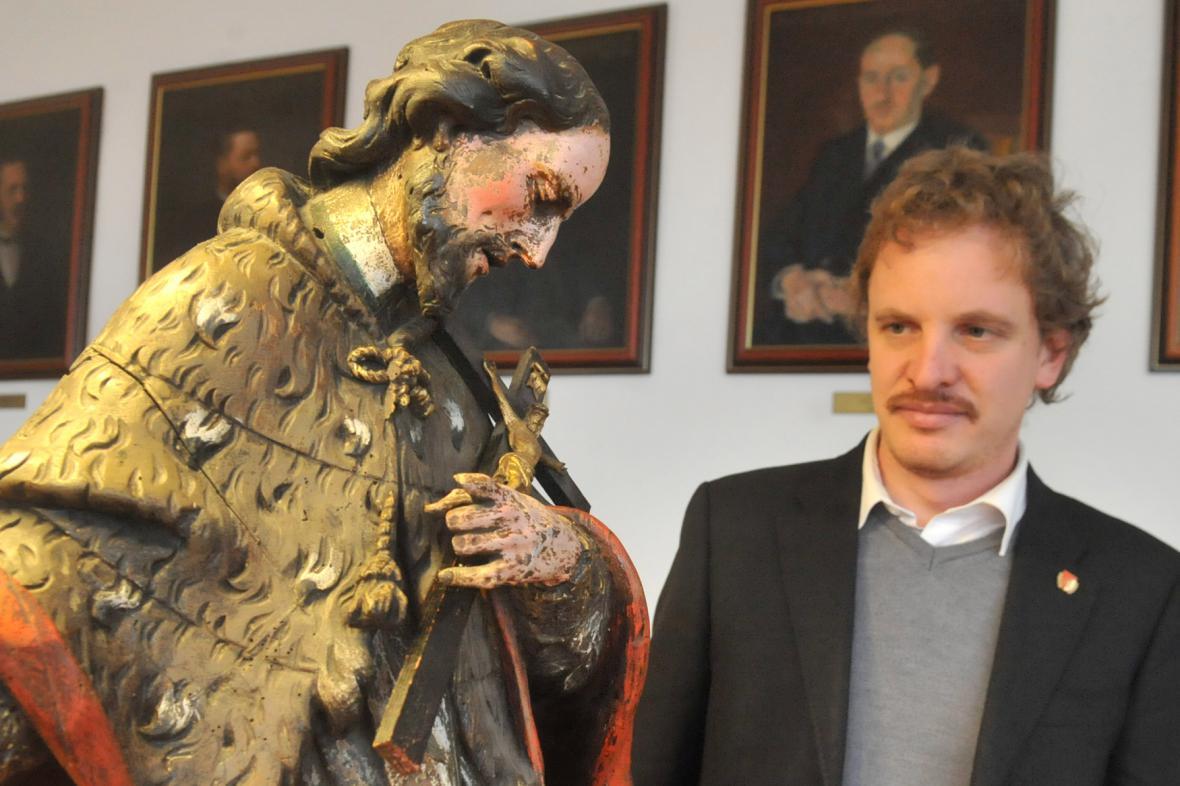 Nalezená socha svatého Jana Nepomuckého