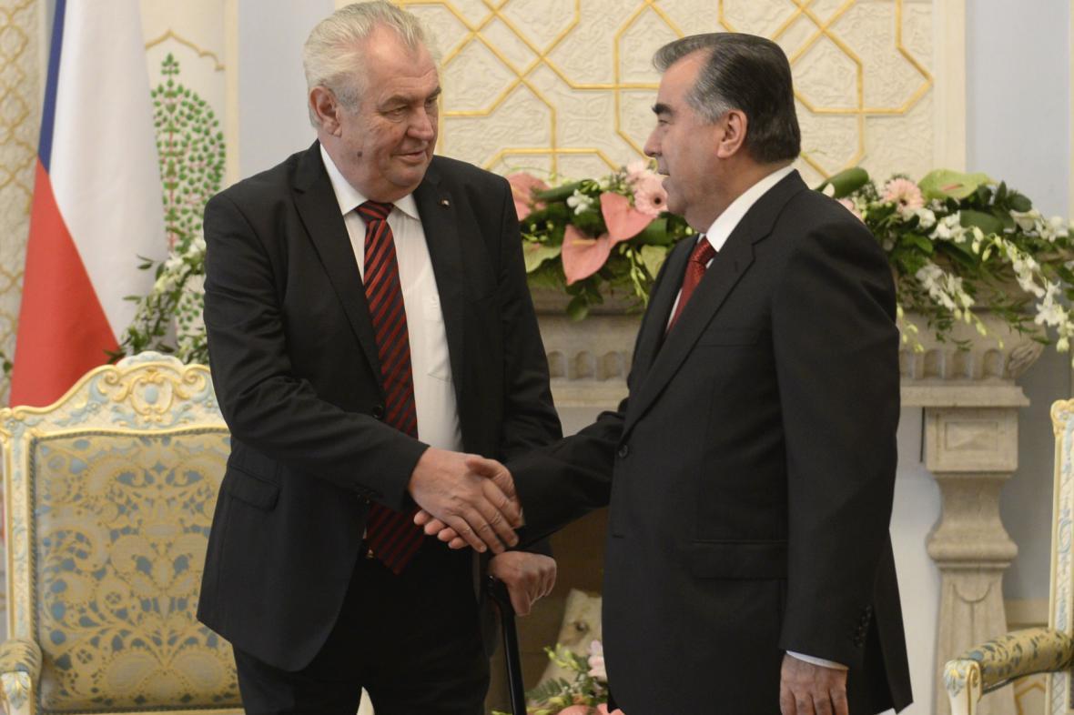 Miloš Zeman s tádžickým prezidentem