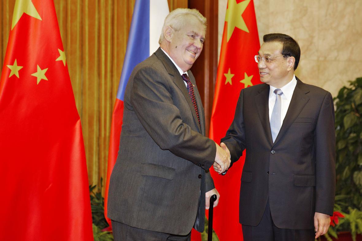 Český prezident s čínským premiérem
