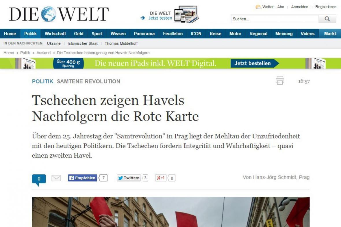 Německý deník Die Welt komentuje dění v Česku
