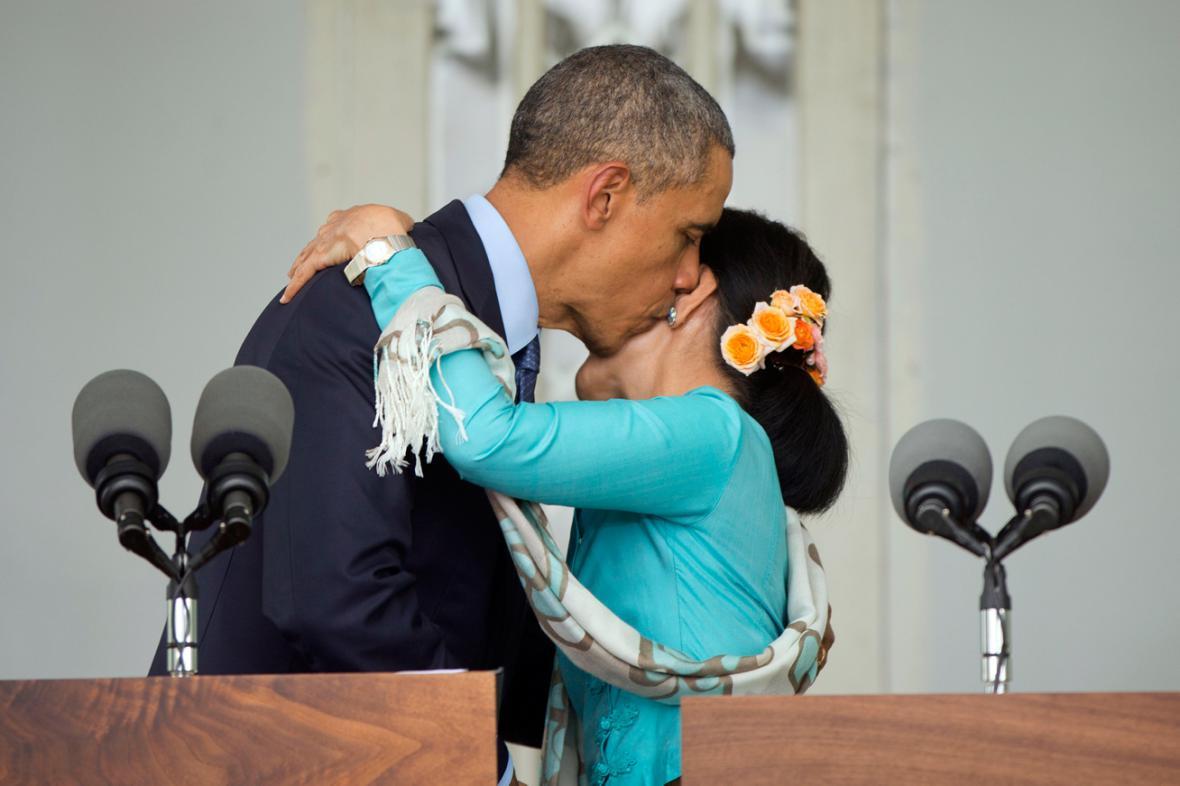 Barack Obama a Su Ťij na společném brífinku