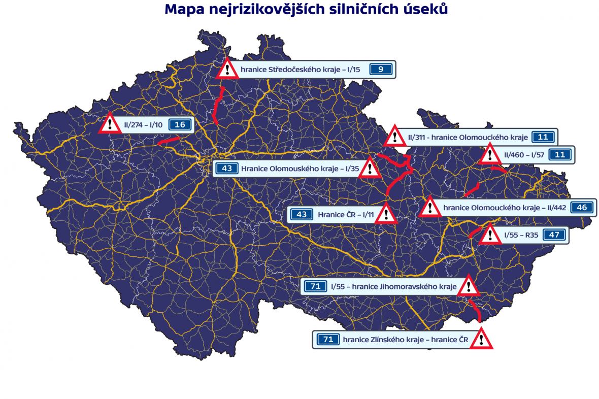 Mapa nejrizikovějších silničních úseků